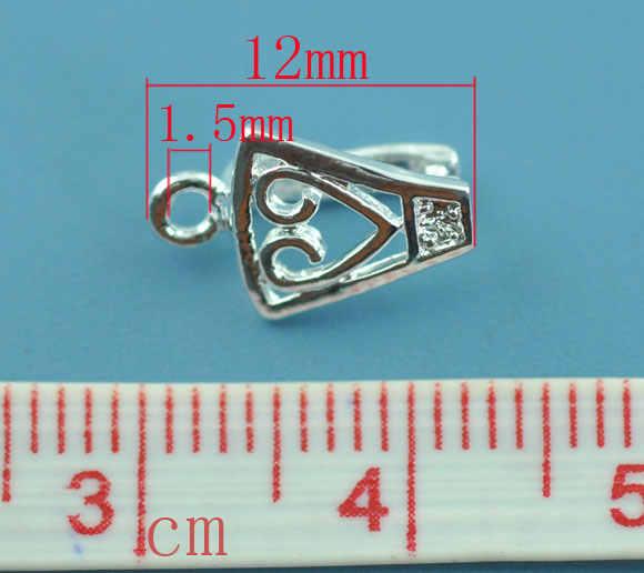 """Colgantes de cobre Clips y broches colgantes plateados 12mm (4/8 """") x 8mm (3/8""""), 2 uds."""