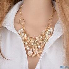 Fashion Graceful Necklace & Pendant Beach Glittering Starfish Shell Kolye Women Summer Girls Joker Jewelry Pearl Bijoux Femme