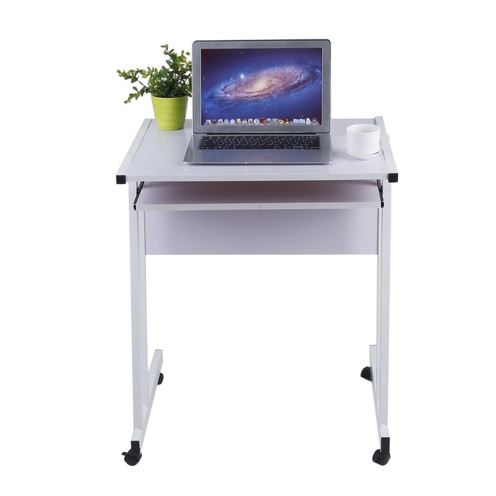 rolling laptop table wooden white rolling laptop table durable office computer desk portable notebook work station household pc stand hot sale