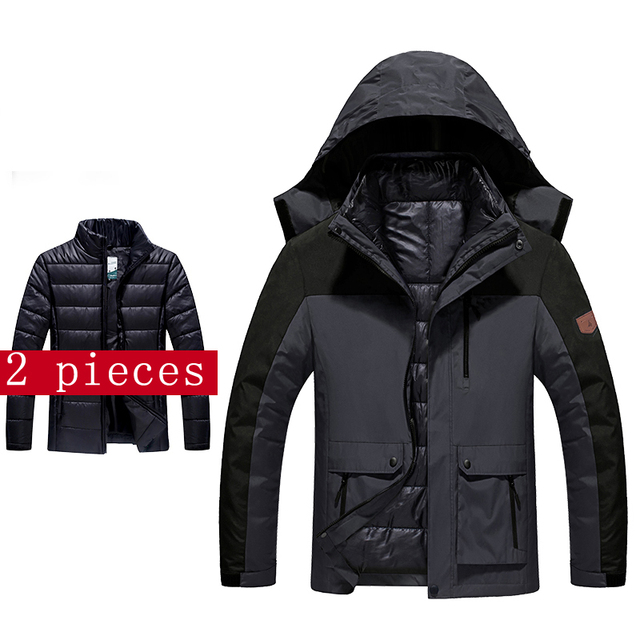 2016 new large size men's women's coat jacket waterproof windproof jacket warm jacket size M-4XL 5XL 6XL  2pieceset