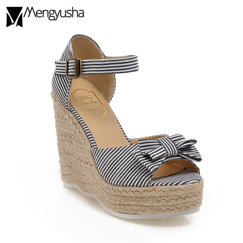 d01a4a00d Striped Platform Sandals Women Bow Slippers Summer Open Toe Wedges Shoes  Ankle Strap Bowknot Flipflops Espadrilles Beach Slides-in High Heels from  Shoes on ...