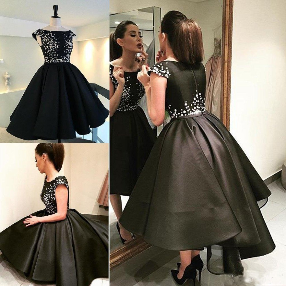 robe de mariee Short Black Evening Dresses Satin Beaded Sparkly Prom Gowns  2016 Cap Sleeves Puffy Pleated Formal Party Gowns-in Evening Dresses from  ... 182d1e4ccc5b