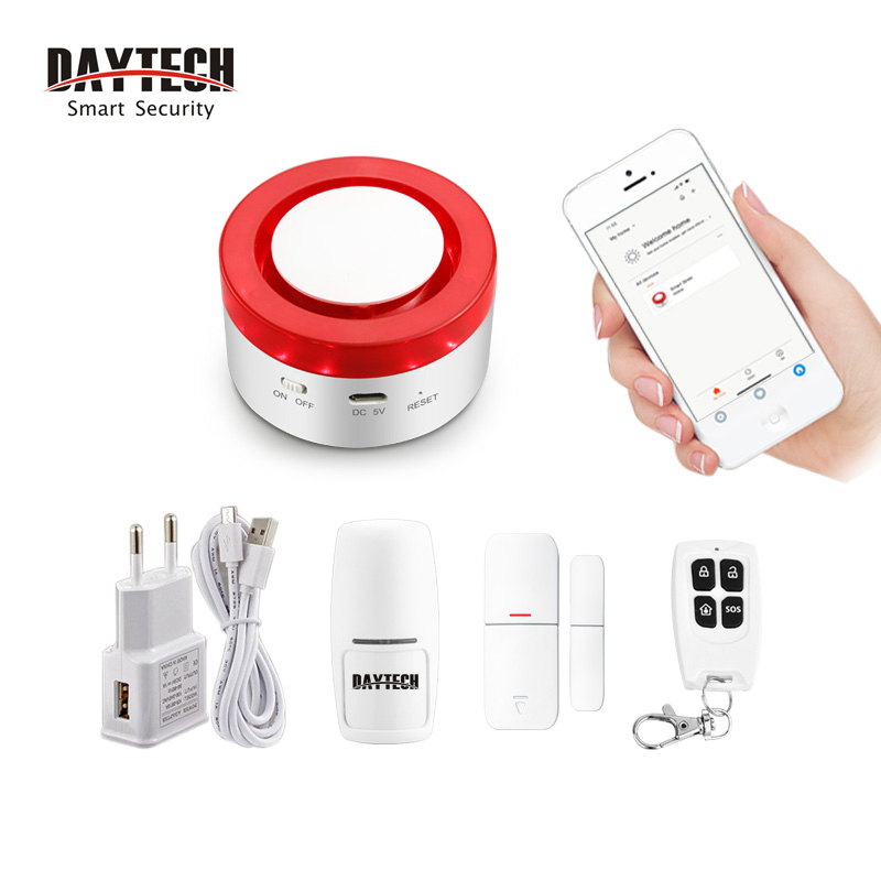 DAYTECH Wireless WiFi GSM Alarm 433MHZ Host Smart  Siren Motion Detector PIR Home Security System DIY Alarm Systems APP Remote