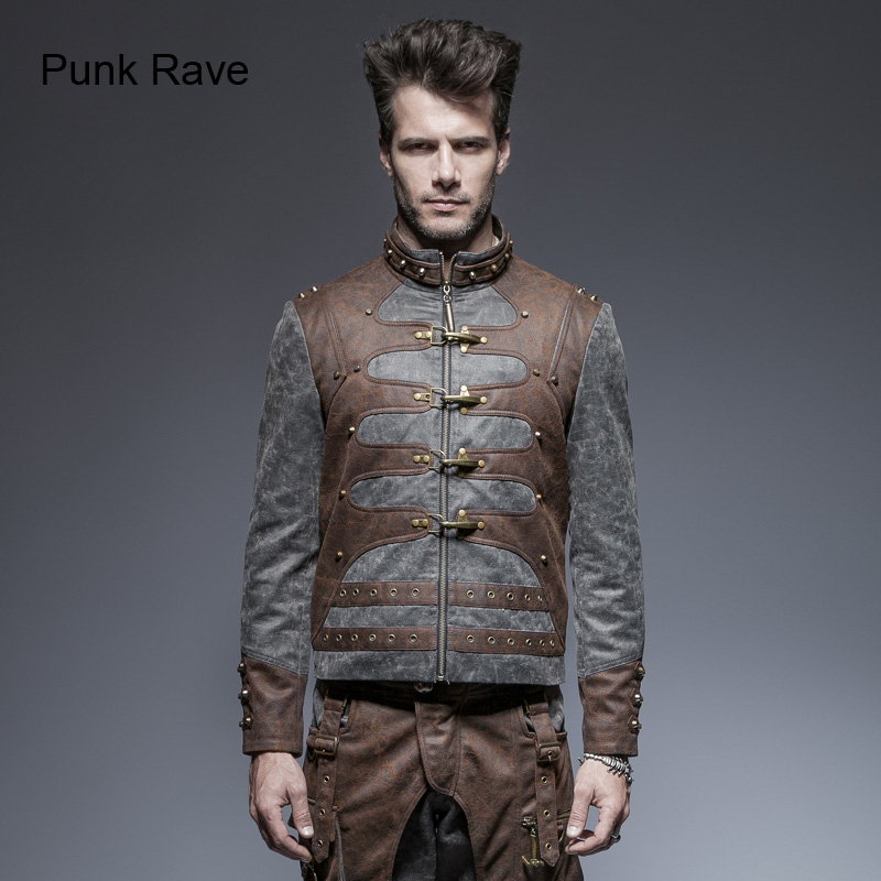 Punk Rave Rock Steampunk Fashion Vintage Men's Short Coat Jacket Y646