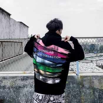 Spring and Autumn Couples Tide Brands Hip Sweatshirt Men's Hooded Rainbow Hoodie Ins Super Popular Tops