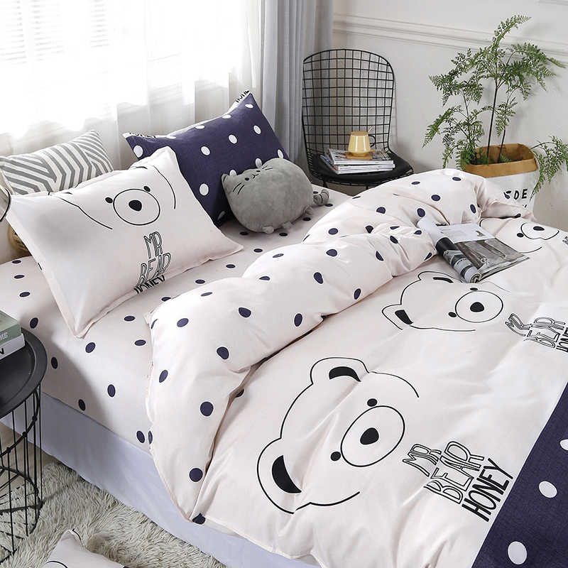 3/4pcs/set Cartoon Bear Printing Textile Bedding Set Include Duvet Cover &Sheets&Pillowcases Cover Comfortable Home Bed Set Dropshipping