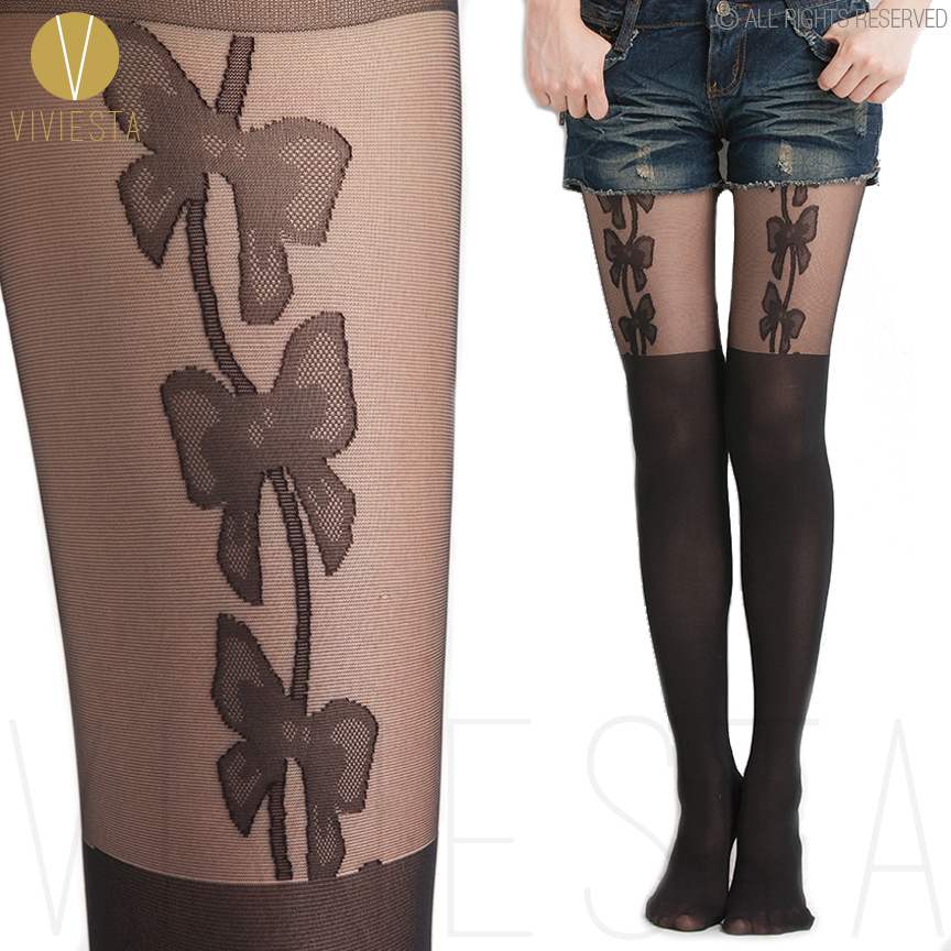 BOWS MOCK SUSPENDER TIGHTS - 120D + 30D Sexy Cute Sheer Fake Bowknots Over The Knee Pantys Medias Hosiery Stockings Pantyhose