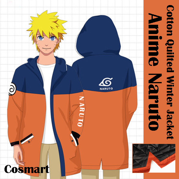[STOCK]Anime Naruto Writing the wheel eye Cosplay Winter Cotton Quilted Long Hoodie Jacket NEW free shipping
