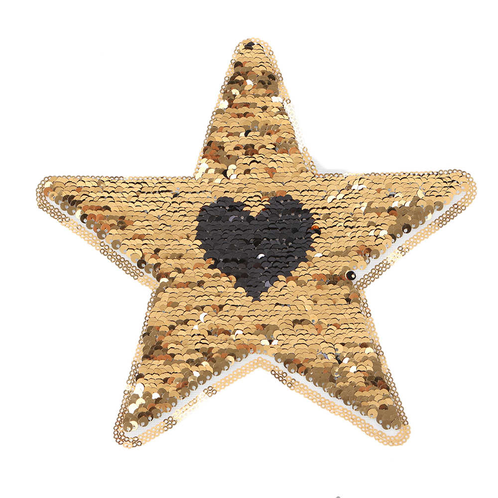 1Pcs Star Shape Heart Reversible Sequins Sew On Patch for Clothes Coat Sweater Embroidered Paillette Patch Applique DIY Crafts