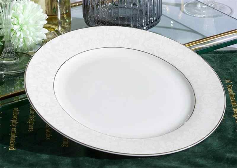 2 pçs conjunto, 8 polegada + 10 polegada, real osso china jantar placas, pratos de cerâmica e placas conjuntos, porcelana carregador placas borden servies