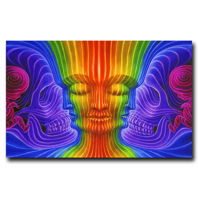 Trippy Alex Grey Art Silk Fabric Psychedelic Poster Print Wall Home 12×19 15×24 19×30 22×35 Inches