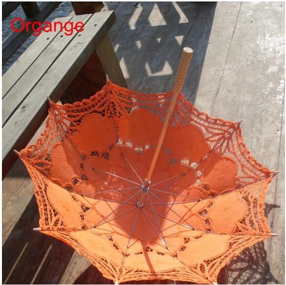 New Lace Umbrella Cotton Embroidery White/Ivory Battenburg Lace Parasol Umbrella Wedding Umbrella Decorations Free Shipping 25