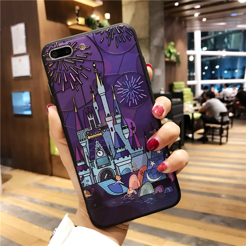 Cartoon Fairy tale castle 3D Relief Case for iphone 7 7plus Fireworks hard case For ipho ...