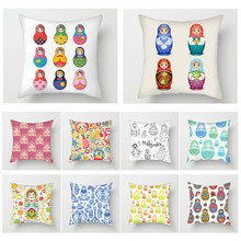Fuwatacchi Doll Pattern Painting Cushion Cover Simple Modern Decor Throw Pillow Cover Home Sofa Chair Decorative Pillows Case fuwatacchi ocean mermaid starfish pattern cushion cover cartoon throw pillowcase for home sofa decorative pillows covers 30 50cm