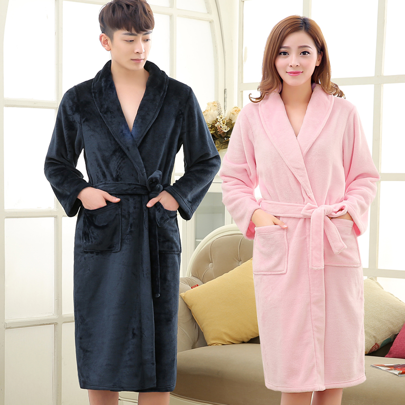 new lovers winter coral fleece warm bathrobe men long flannel soft kimono bath robe mens dressing gown male winter lounge robes - Mens Bathrobes