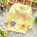 Primavera Outono Casacos de Bebê para Meninas Dot Padrão de Flor Decoração de Roupas de Bebê de Algodão Estilo Princesa Do Bebê Jaquetas
