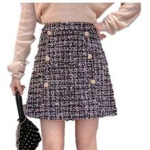78e7602e4c 2019 Autumn Fashion Women A-Line Tweed Skirt Gold Buttons Winter Mini Skirts  Spring High