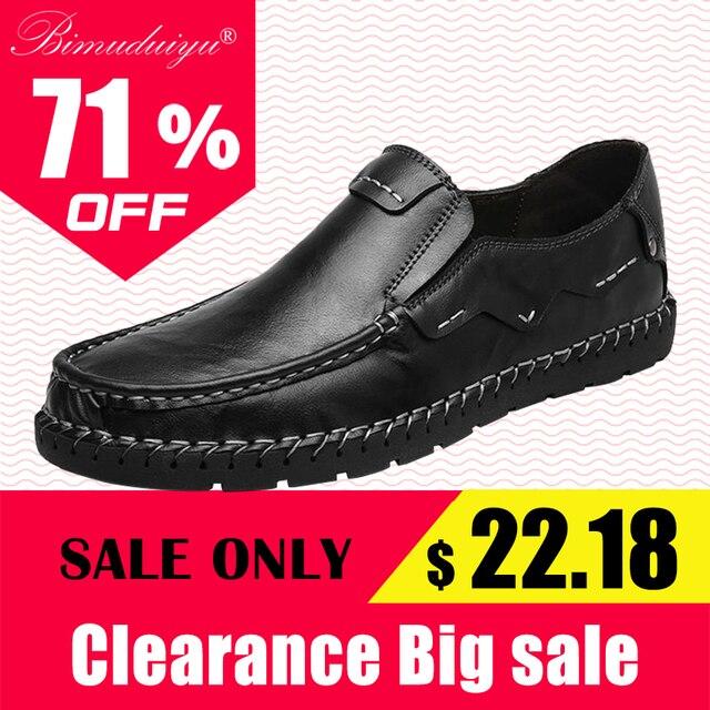 BIMUDUIYU Merk Mens Instappers Fashion Handgemaakte Mocassins Koe Lederen Mannen Flats Zwarte Schoenen Slip-op Casual Schoenen Voor Mannen