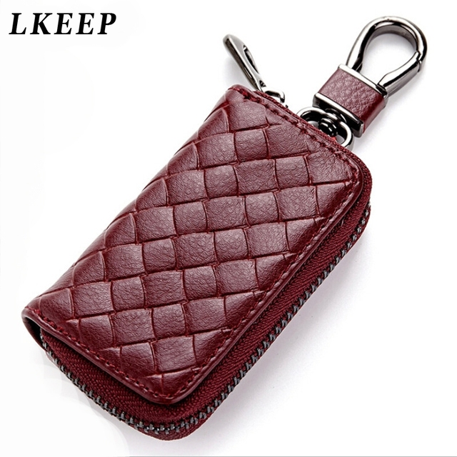 c914f21299e9c PU Leather Keychain Men Women Key Holder Organizer Pouch Split Car Key Bag  Wallet Housekeeper Key
