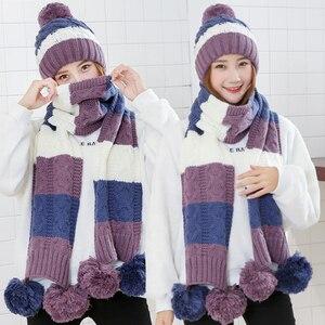 Image 3 - 패션 선물 따뜻한 모직 겨울 여성 모자와 스카프 우아한 스카프 모자 세트 여성 2 종류의 모자 스카프 세트 긴 숙녀 스카프