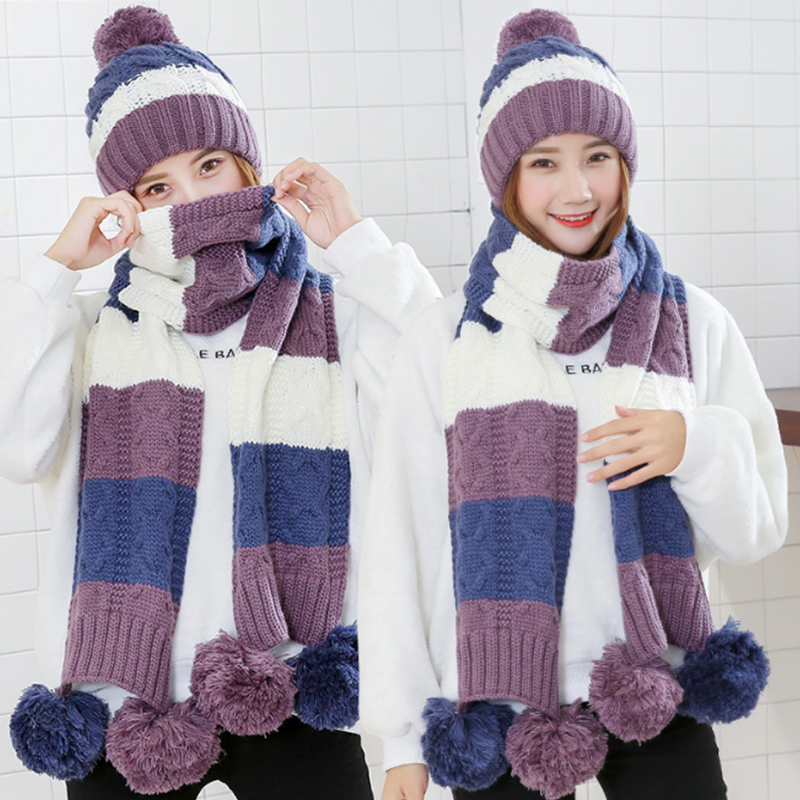 Image 3 - Fashion Gift Warm Woolen Winter Women Caps And Scarfs Elegant Scarf Hat Set Women 2 Kinds Of Cap Scarf Sets Long Ladies Scarves-in Women's Scarf Sets from Apparel Accessories