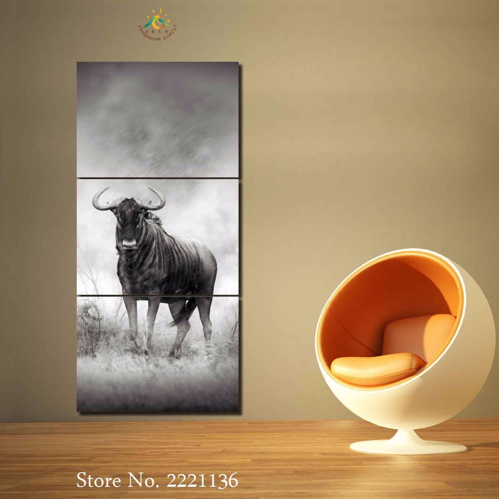 3 4 5 panels/set Black and White Bullfighting Home Wall Decor Canvas ...