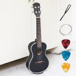 Électrique acoustique Ukulélé Concert 23 pouce Guitare Hawaïenne 4 Cordes Ukulélé Guitarra Acajou Artisanat Vert Musicales Noires Uke
