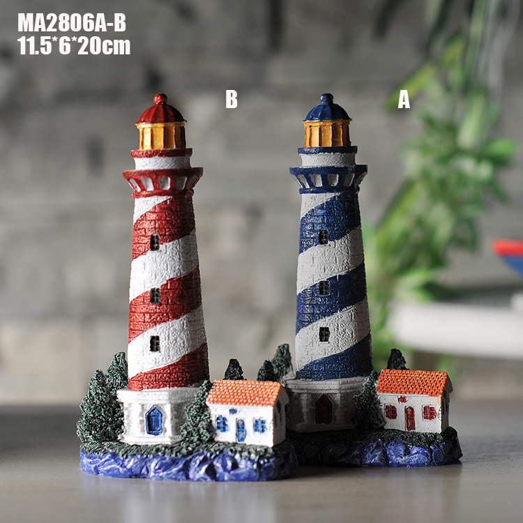 Resin Nautical Lighthouse Mediterranean Style Household Decoration Lighthouse Decor Hangings Marine lighthouse figurines