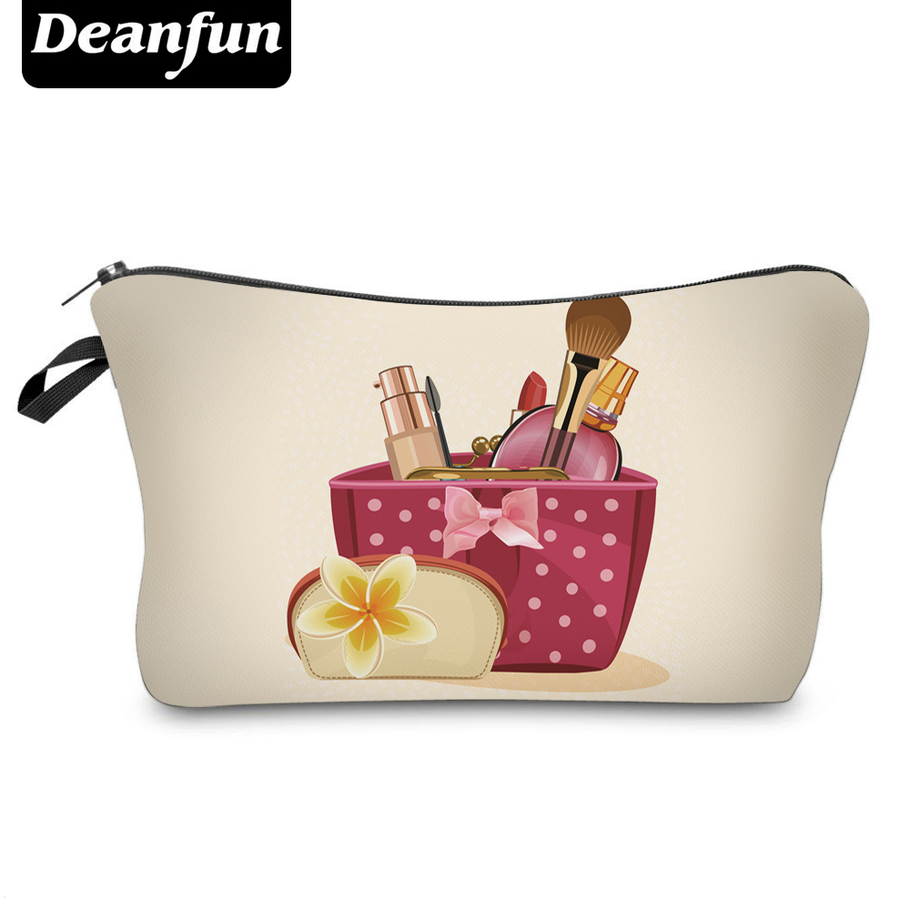 Deanfun Cosmetic Bag  Hot Sale Polyester Flower 3D Printing Organizer For Travel Necessarys For Women Makeup Storage 50750