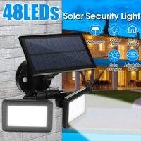New 48LED Dual Head Solar Motion Sensor Spotlights Wall Lamp 3Mode Adjustable Waterproof Solar Floodlight for Yard Garden Garage|Street Lights| |  -