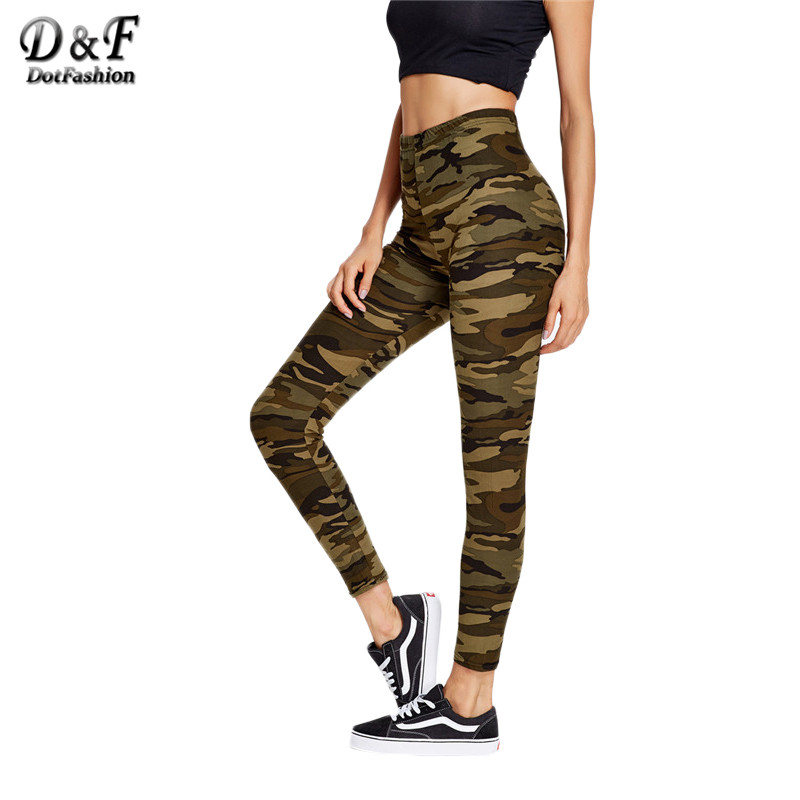 Dotfashion Camouflage Fitness Leggings Casual Slim Sexy High Waist Pants 2018 Spring Fashion Ankle Leggings