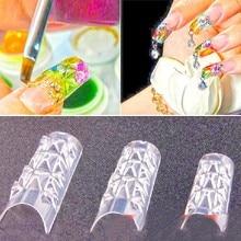 Professional 500PCS New Clear Glaze False Fake Nail Tips Fashion Glass Mosaic 3D Nail Art Tips Design Nail Essential