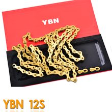 Taiwan YBN SLA Mtb Bike Chain 12 Speed 126 Links For SRAM XX1 GX12 Eagle Bike Golden Chain Bike Accessory campagnolo 2017 new original ybn 11 speed diamond black mtb mountain road racing bike chain sla 110bg