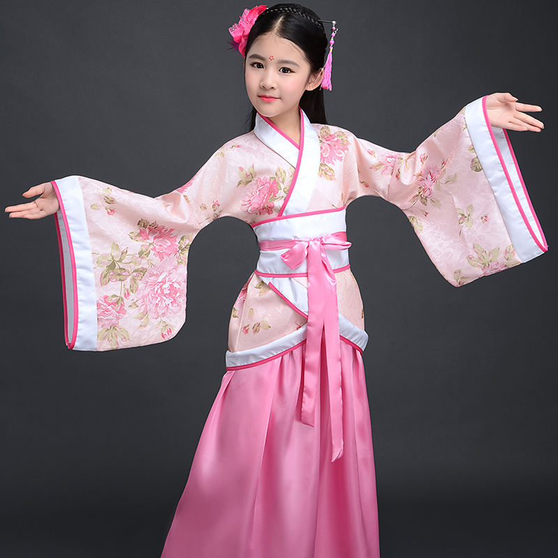 Child Anceint Clothes Children's Day Baby Girl Stage Performance Clothes Vintage Chinese Hanfu Clothing Print Flower Dress