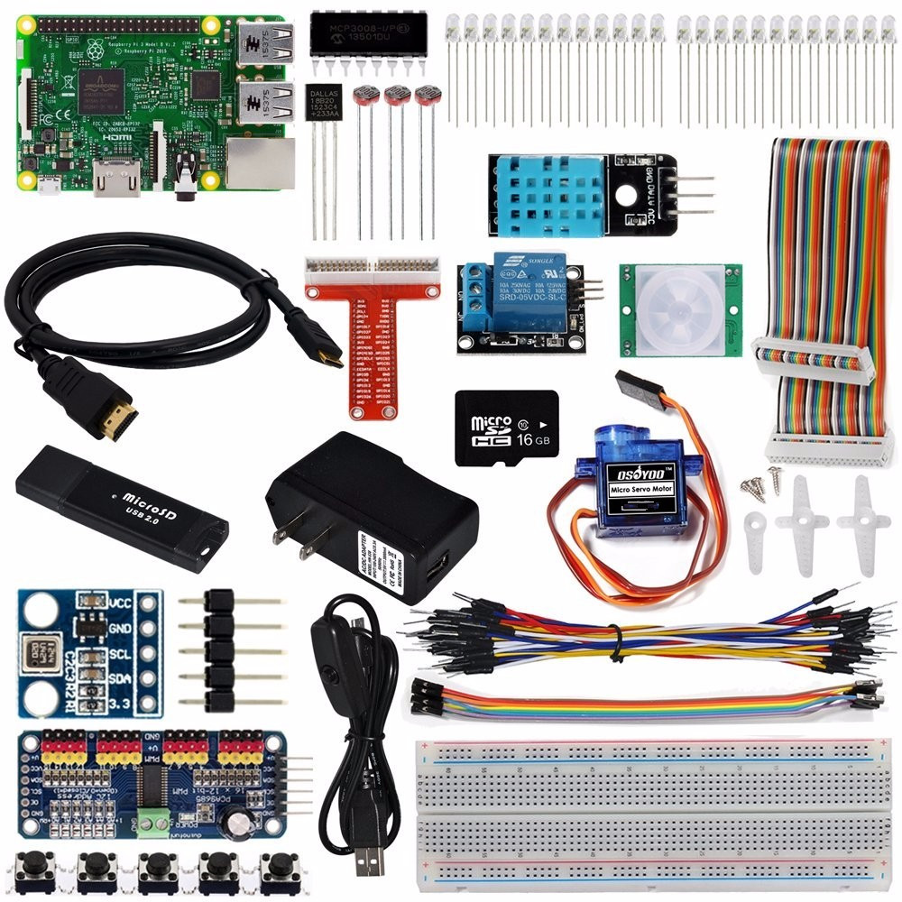 OSOYOO The Lastest Raspberry Pi 3 Internet Of Things IOT Complete Starter Kit with RPi3 Model B Board (23 items) iot starter kit mqtt wifi internet of things programming learning suite with esp8266