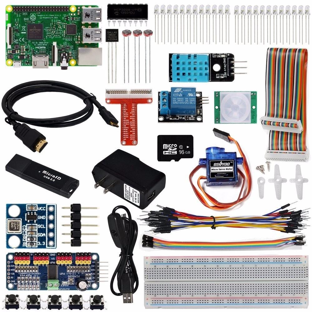купить OSOYOO The Lastest Raspberry Pi 3 Internet Of Things IOT Complete Starter Kit with RPi3 Model B Board (23 items) по цене 6050.42 рублей