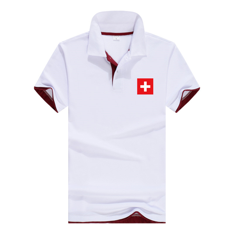 Switzerland 2018 Summer   Polo   Shirt Men Short Sleeve Breathable Cotton Casual Short Sleeve Mens   Polo   Shirts Lovers Women   Polo