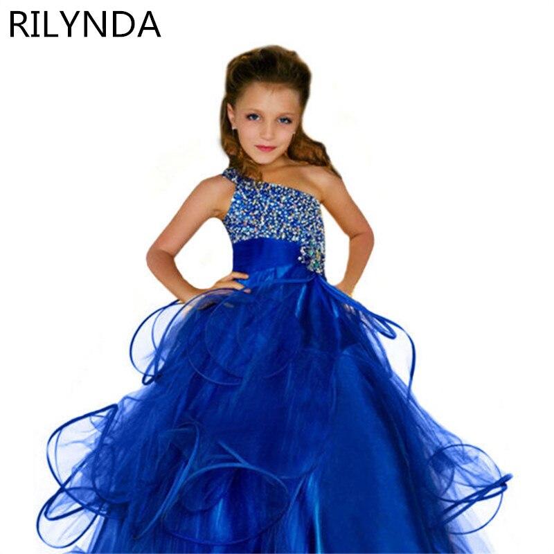 2-14 robe de bal enfants Sequin fleur filles robe enfants Pageant fête de mariage robe de bal princesse formelle Occassion filles robe