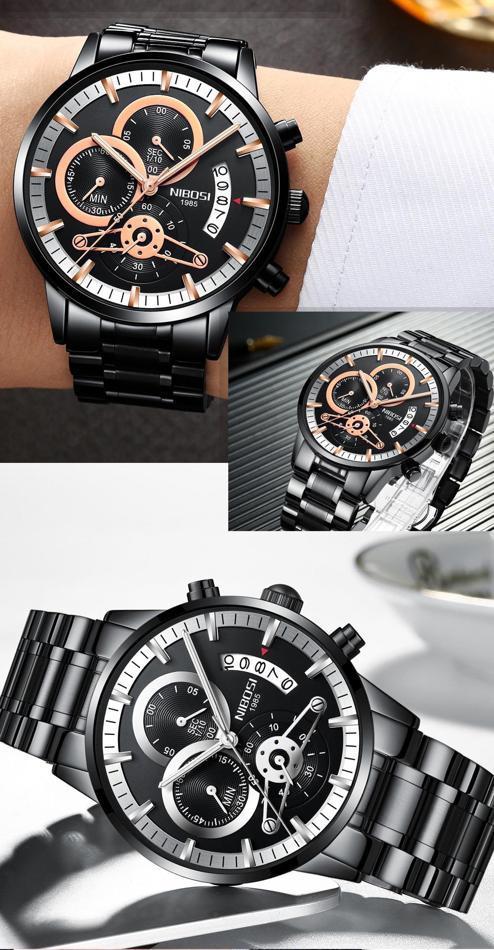 Relogio Masculino NIBOSI Luxury Men's Wristwatches Stainless Steel Sport Clock Man Gold Male Watches Top Brand Business Watch  (8)