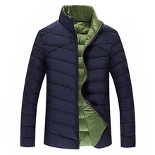 Men Casual Patchwork Warm 2017 WInter Jacket Stand Collar Outwear Mens Slim Down Jackets Plus Size Outwear Padded Zippers Coat