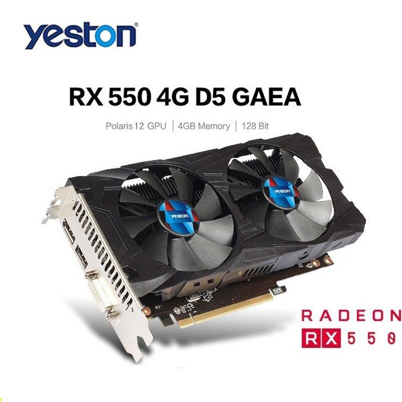 Brand New RX550 4G GDDR5 da Placa Gráfica Yeston 14nm 1183 MHz 128Bit Com HDMI DVI DP 512SP Silencioso Duplo Controle de Temperatura fãs