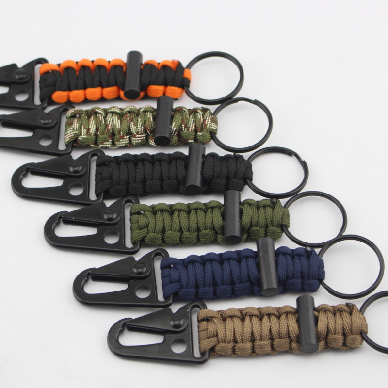 QIYIGE 550 Woven Paracord Lanyard Keychain Outdoor Survival Gear Tactical Military Parachute Rope Cord Keyring Carabiner Kits oumily military army survival parachute rope black 30m 140kg 2 pcs
