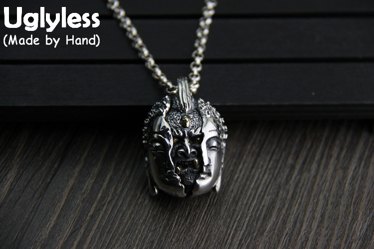 Uglyless Real S925 Sterling Silver Buddhism Pendants Necklaces without Chains Unisex Necklaces Evil from the heart Fine Jewelry from the heart