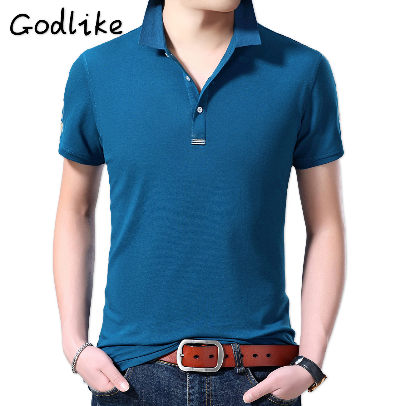 GODLIKE 2019 Men's fashion leisure cultivate one's morality short sleeve   POLO   unlined upper garment solid color   POLO   shirt