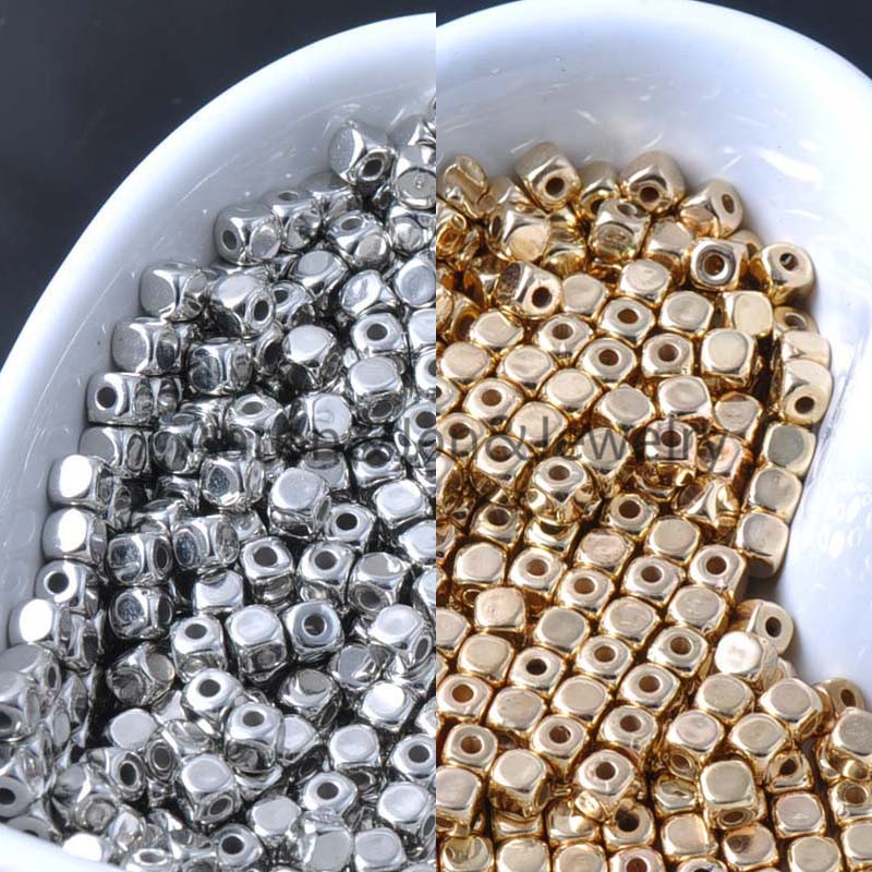 500pcs 4mm Silver And Gold Smooth Acrylic Cube Spacer Beads For Jewelry Handmade Ykl0031-x Rich And Magnificent Jewelry & Accessories Beads & Jewelry Making