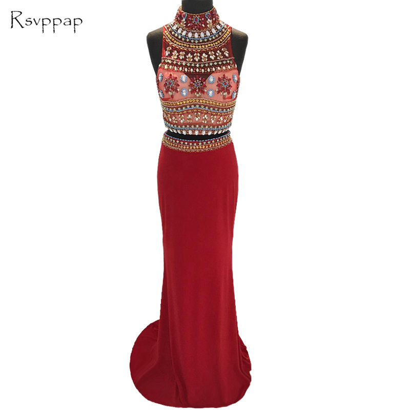 Long Elegant Prom Dresses 2019 Stunning High Neck Beaded Crystals Floor Length African Burgundy Two Piece Prom Dress