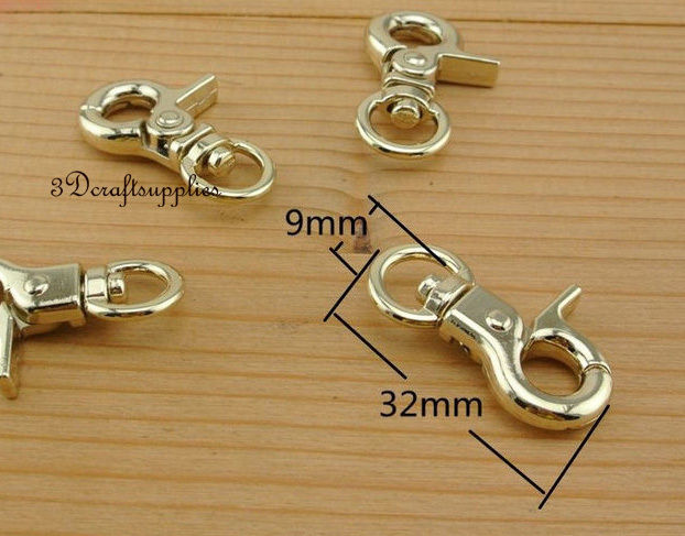 Lobster Clasps Clips Claw purse hooks Swivel snap hook light gold 12pcs AC125
