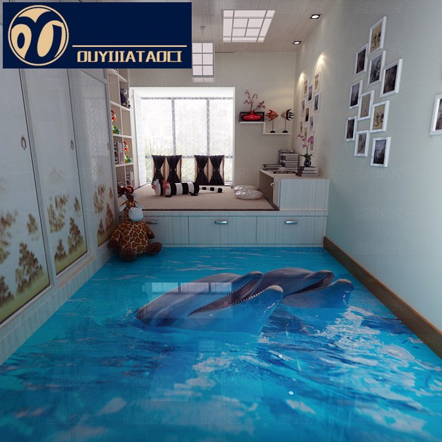 New Personality Aquarium Room 3D Floor Crystal Full Body Tiles Bedroom  Decoration Material Export Non
