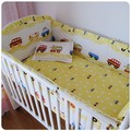 Promotion! 6PCS Blue Cars Airplan Boy Baby Crib Bedding Baby Crib Cot Bedding Set  (bumper+sheet+pillow cover)