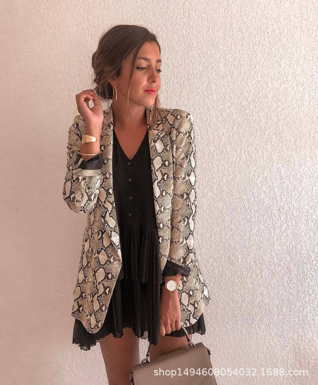 a435b0cd3f New Women Blazers Long Sleeve Blazer Feminino Snake Skin Print Outerwear  Office Lady Work Wear Fall Womens Tops and Blouses-in Blazers from Women s  Clothing ...